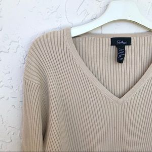 Sweaters - Cotton blend ribknit longsleeve V-neck sweater XXL